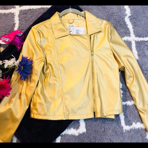 ob.sess Other - Girl gold metallic jacket XL faux leather